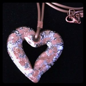 Handmade Glass Heart Copper Cord Long Necklace